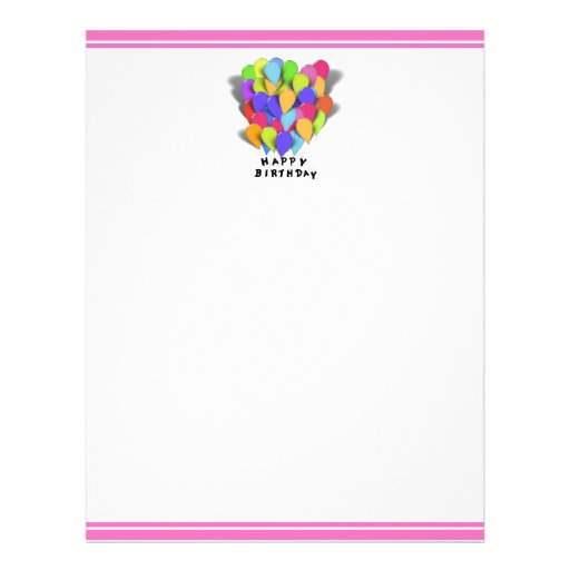 Happy Birthday Balloons For Girl (Pink Border) Flyer