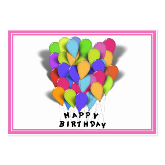 Happy Birthday Balloons for Girl (Pink Border) Large Business Card