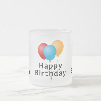 Happy Birthday Balloons Frosted Glass Coffee Mug