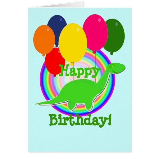 Happy Birthday Balloons Green Dino Card