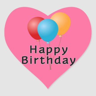 Happy Birthday Balloons Heart Sticker
