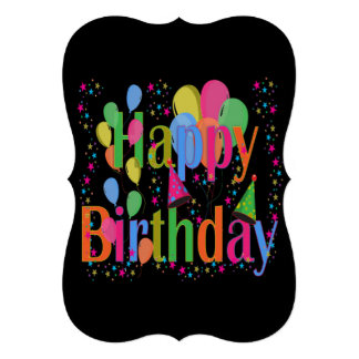 Happy Birthday Balloons Invitation Card