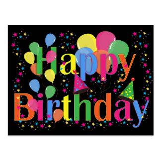 Happy Birthday - balloons multi colour - postcard