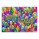 Happy Birthday Balloons multicolor Greeting Card