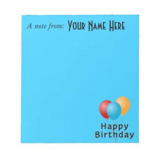 Happy Birthday Balloons Memo Notepads