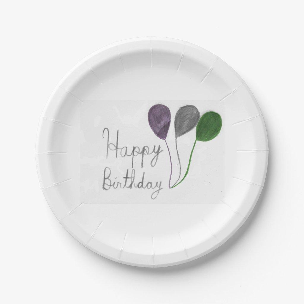 Happy Birthday Balloons Paper Plates