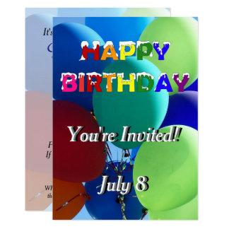 Happy Birthday Balloons Party Rainbow Card