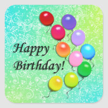 Happy Birthday Balloons Party Stickers