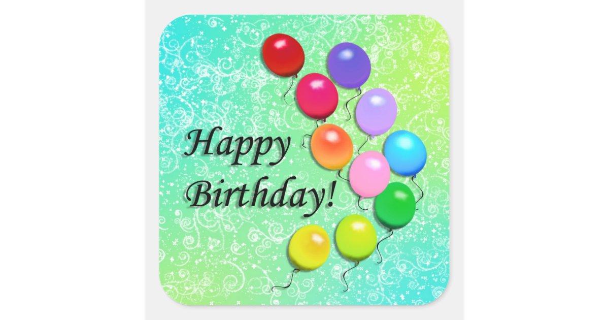 Happy Birthday Balloons Party Stickers  Zazzle