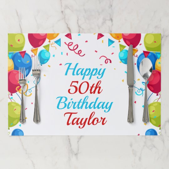 Happy Birthday Balloons Personalized Age Name Paper Placemat