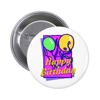Happy birthday balloons pinback button
