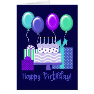 Happy Birthday! | Balloons, Presents & Cake Card
