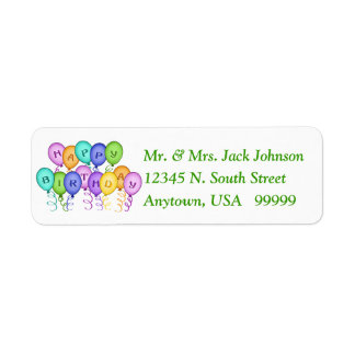 Happy Birthday Balloons Return Address Labels