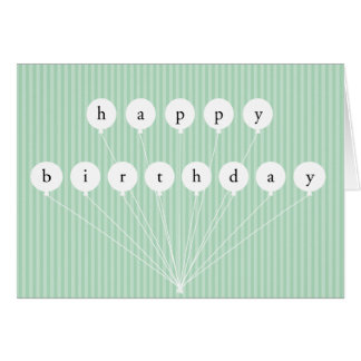 Happy Birthday Balloons & Stripes Greeting Card