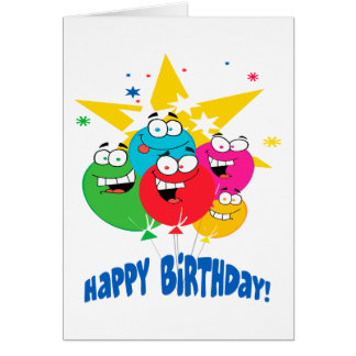happy birthday balloons with faces cartoon greeting card