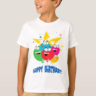 happy birthday balloons with faces cartoon T-Shirt