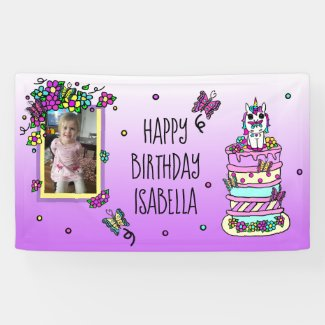 Happy Birthday Banner Personalized Unicorn