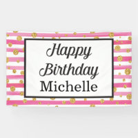 Happy Birthday Banner - Pink and Gold