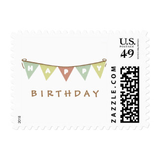 Happy birthday banner postage stamp
