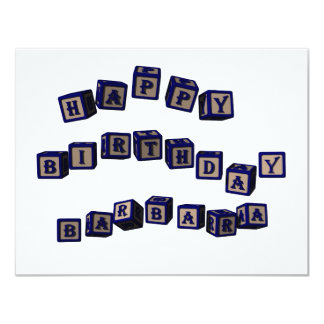 Happy Birthday Barbara toy blocks in blue Card