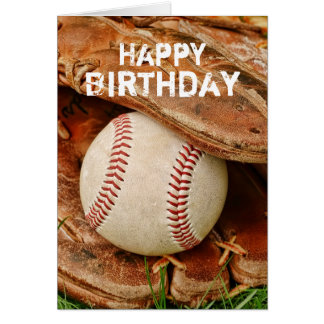 Happy Birthday Baseball and Old Mitt Card