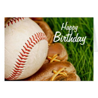 Happy Birthday Baseball with Mitt Card