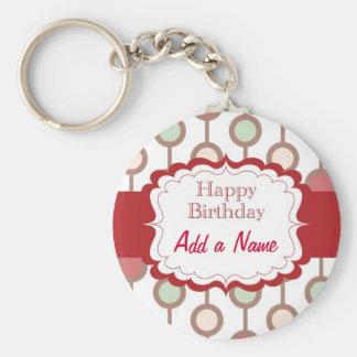 Happy Birthday Basic Round Button Keychain