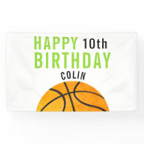 Happy Birthday, Basketball Sports Kids Simple Bold Banner