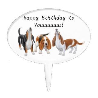 Happy Birthday Basset Hound Dogs Cake Pick