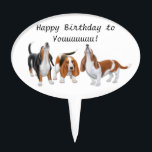 "Happy Birthday Basset Hound Dogs Cake Pick<br><div class=""desc"">Original fine art design of howling Basset Hounds by artist Carolyn McFann of Two Purring Cats Studio printed on a quality cake pick for your next birthday party or any occasion. Customize this quickly and easily, if desired. See a few of our products below (click to go to that product)...</div>"