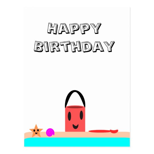 Happy Birthday Beach Fun Postcard
