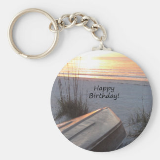 Happy BIrthday Beach Theme Keychain