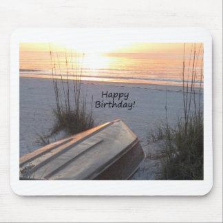 Happy BIrthday Beach Theme Mouse Pad