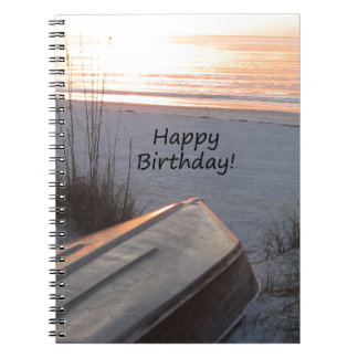 Happy BIrthday Beach Theme Notebook