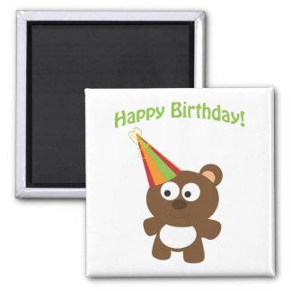 Happy Birthday! Bear 2 Inch Square Magnet