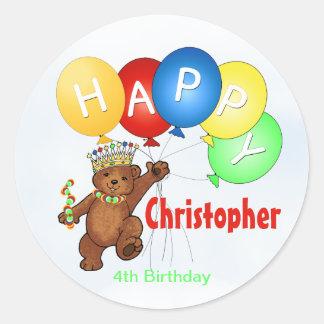 Happy Birthday Bear 4th Birthday Classic Round Sticker