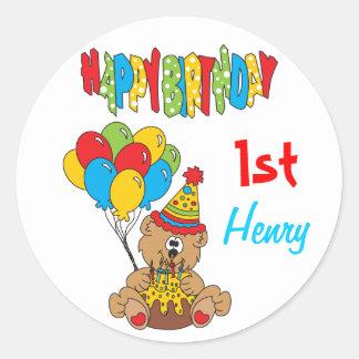 Happy Birthday Bear Classic Round Sticker