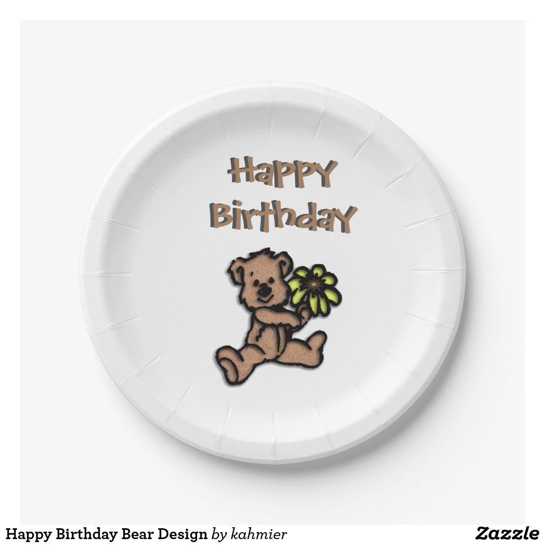 Happy Birthday Bear Design Paper Plate
