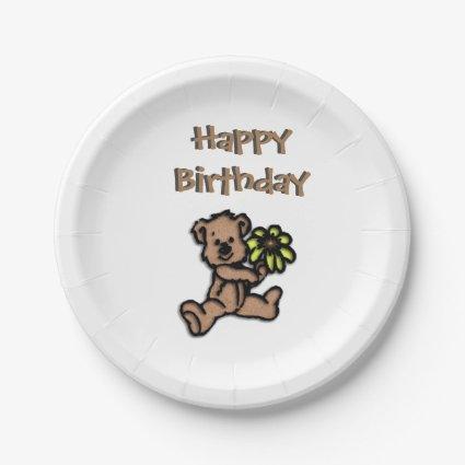 Happy Birthday Bear Design Paper Plate