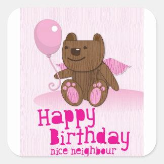 Happy birthday Bear Nice Neighbour Square Sticker