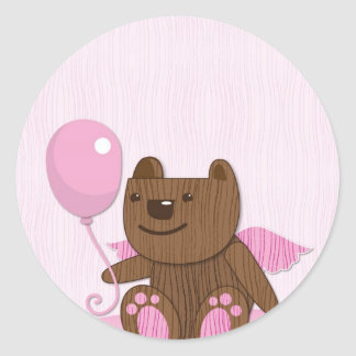 Happy Birthday Bear plain Classic Round Sticker