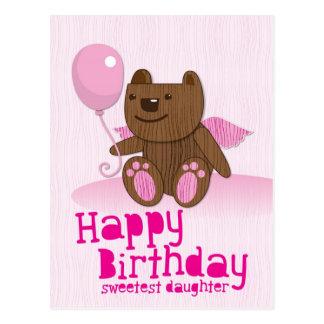 Happy Birthday Bear Sweetest Daughter! Postcard