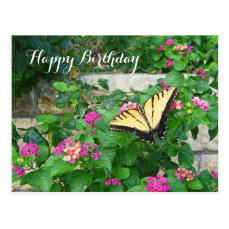 Happy Birthday Beautiful Butterfly Flowers Postcard