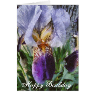 Happy Birthday Beautiful Purple Iris Floral Art Card