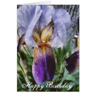 Happy Birthday Beautiful Purple Iris Floral Art Card