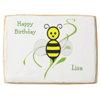 Happy Birthday Bee Personalized Cookie