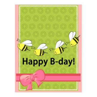 Happy Birthday bees B day pink green fun card