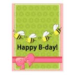 Happy Birthday bees B day pink green fun card Postcard