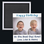 "Happy Birthday Best Dad Ever Photo Magnet<br><div class=""desc"">For Dad's birthday this year,  give him a cute magnet from the kids!  Personalize with your own photo. The text and the message,  including the colors,  are also fully customizable.</div>"