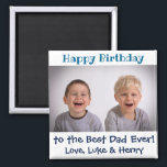 """Happy Birthday Best Dad Ever Photo Magnet<br><div class=""""desc"""">For Dad's birthday this year,  give him a cute magnet from the kids!  Personalize with your own photo. The text and the message,  including the colors,  are also fully customizable.</div>"""